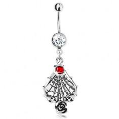 Piercing do bruška z ocele 316L, červený zirkón, pavučina s lebkami a ružou