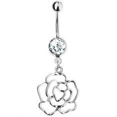 Piercing do pupka z ocele 316L, strieborná farba, obrys kvetu ruže