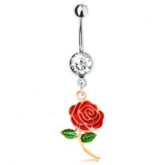 Piercing z ocele 316L, ruža zlatej farby zdobená červenou a zelenou glazúrou