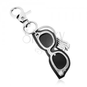 7fa5fd9b1 Prívesok na kľúče s patinovaným povrchom, sivo-čierne okuliare z kože a  ocele