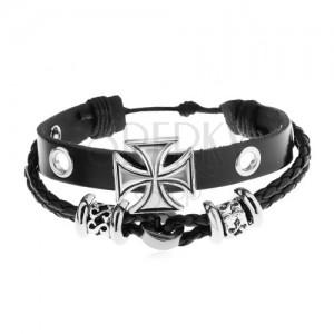 ca2afc1ab Náramok z umelej kože čiernej farby, oceľové korálky, maltézsky kríž ...