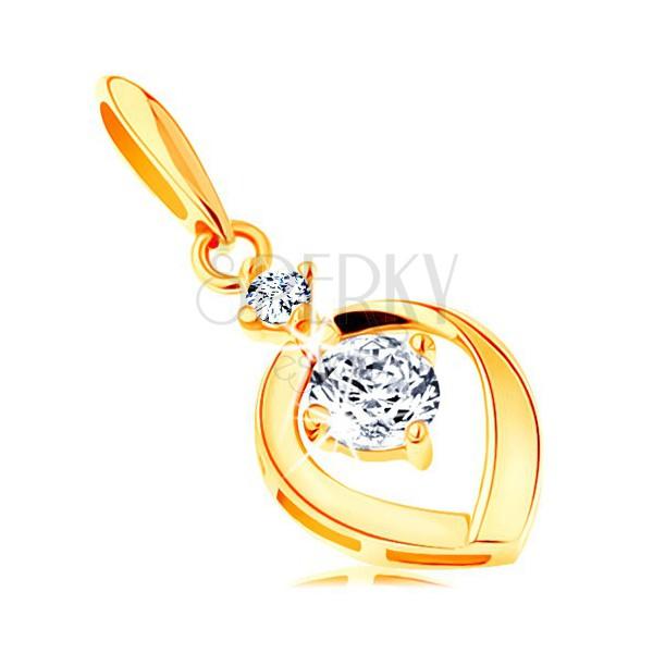 393b44974 Prívesok zo žltého 14K zlata - okrúhly číry zirkón v obryse kvapky ...