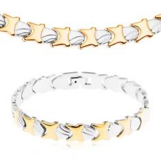 Oceľový náhrdelník a náramok, lesklo-matné články, zlatá a strieborná farba