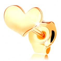 Puzetová jednokusová náušnica v žltom 14K zlate - jemne prehnuté srdiečko