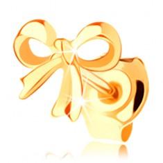 1-kusová náušnica zo žltého 14K zlata - lesklá uviazaná mašlička, vysoký lesk