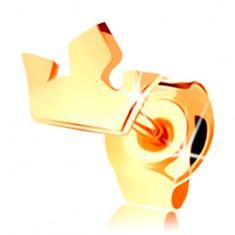 Jednokusová náušnica v žltom 14K zlate - malá trojcípa korunka, puzetka