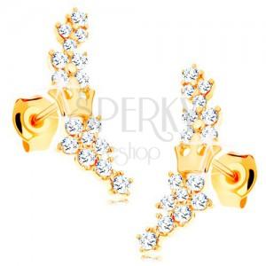 7d562d614 Zlaté náušnice 585 - kvietky zo žiarivých čírych zirkónikov a malá korunka