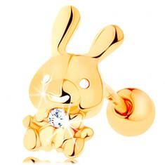 Piercing do ucha zo žltého 14K zlata - ligotavý zajačik s čírym zirkónom