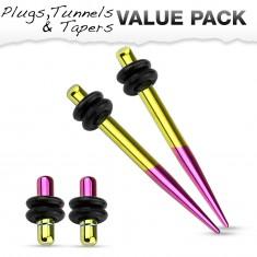 Set dvoch expanderov a dvoch plugov z ocele 316L, žltá a fialová farba