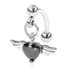 Piercing do obočia z ocele 316L, čierne srdce zo zirkónu, anjelské krídla