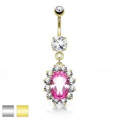 Oceľový piercing do pupka, ružový zirkónový ovál, číry ligotavý lem