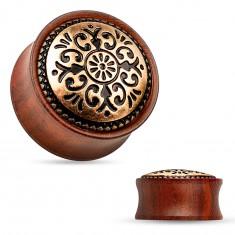 Sedlový plug do ucha z dreva mahagónovej farby, vyrezávaný kruh