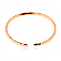 Piercing do nosa v ružovom 14K zlate - lesklý tenký krúžok, hladký povrch