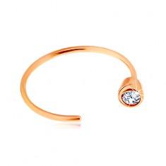 Zlatý 14K piercing do nosa - ružové zlato, lesklý krúžok ukončený čírym zirkónom