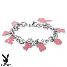 Oceľový náramok striebornej farby, ružové prívesky - zajačik a nápis PLAYBOY