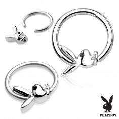 Piercing krúžok z chirurgickej ocele striebornej farby s Playboy zajačikom