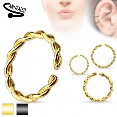 Oceľový piercing do nosa, špirálovito zatočený krúžok, rôzne farby