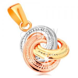eb4f069af Prívesok zo 14K zlata - trojfarebné prepojené obruče s gravírovaním ...