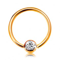 Piercing v žltom zlate 375 - lesklý krúžok s guličkou a vsadeným čírym zirkónom, 10 mm