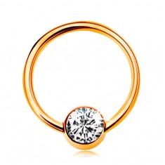 Piercing v žltom 9K zlate - lesklý krúžok s guličkou a čírym zirkónom, 10 mm