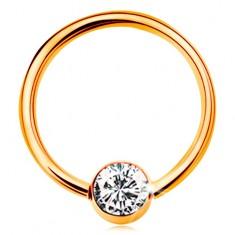 Zlatý piercing 375 - krúžok s guličkou a vsadeným čírym zirkónom, 12 mm