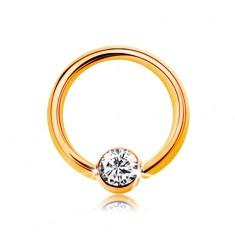 Piercing v žltom 9K zlate - malý krúžok s guličkou a čírym zirkónom, 6 mm
