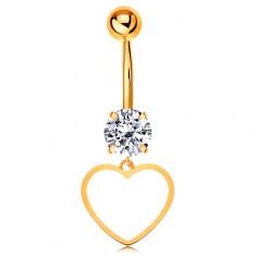 Zlatý 9K piercing do bruška - číry zirkón, tenký obrys súmerného srdiečka