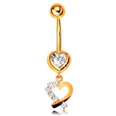 Zlatý 9K piercing do bruška - zirkónové srdce, obrys srdiečka s trblietavou polovicou
