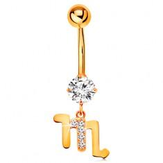 Piercing do pupka zo žltého zlata 375 - číry zirkón, symbol zverokruhu - ŠKORPIÓN