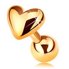 Piercing zo zlata 585 do tragusu ucha - lesklé vypuklé srdiečko, 5 mm