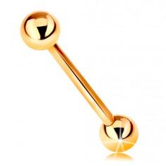 Piercing zo žltého 9K zlata - barbell s dvoma lesklými guličkami, 18 mm
