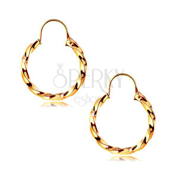 Zlaté náušnice 585 - špirálovito zatočené kruhy s lesklým povrchom ... b469646b5ac
