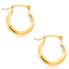 Náušnice zo žltého 14K zlata - malé lesklé krúžky, francúzsky zámok