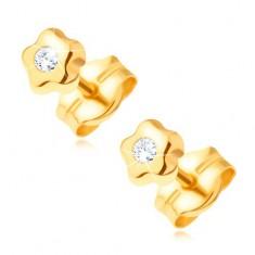 Zlaté náušnice 585 - drobný kvietok s čírym ligotavým diamantom