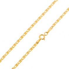 Retiazka v žltom 14K zlate, ligotavé oválne očká s mriežkou, 500 mm