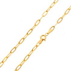 Náramok zo žltého zlata 585 - hladké a vrúbkované väčšie oválne očká, 200 mm