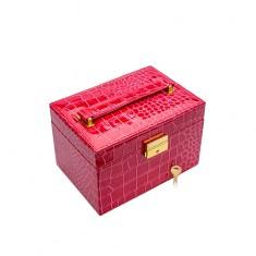 Ružová kufríková šperkovnica z imitácie krokodílej kože, kovové detaily zlatej farby