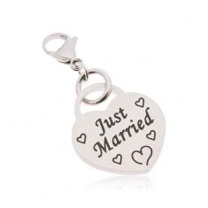 Prívesok na kľúčenku, chirurgická oceľ, srdce s nápisom Just Married