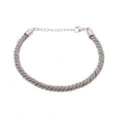 Oceľový náramok striebornej farby, vzor točeného lana, karabínka