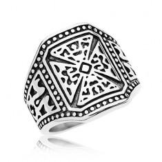 Mohutný prsteň striebornej farby, oceľ 316L, maltézsky kríž, zdobené ramená