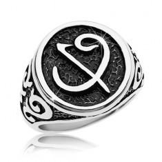 Prsteň z chirurgickej ocele - čierna pečať so symbolom, ornamenty na ramenách