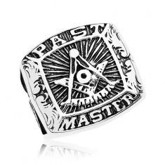 Prsteň z chirurgickej ocele, symboly slobodomurárov a nápis, čierna patina