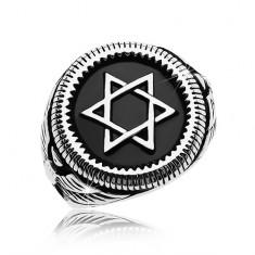Mohutný prsteň striebornej farby, oceľ 316L, Dávidova hviezda v čiernom kruhu