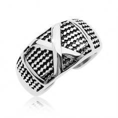 Patinovaný oceľový prsteň so vzorom tenkých retiazok a veľkým X