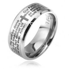 Prsteň z chirurgickej ocele striebornej farby, skosené okraje, modlitba Otčenáš, 6 mm