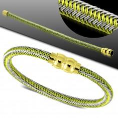Zeleno-sivý náramok, pletený vzor, magnetické zapínanie zlatej farby