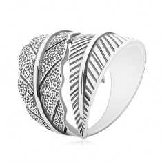Strieborný 925 prsteň, protismerne zahnuté veľké listy, sivá patina