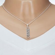 Strieborný 925 náhrdelník, keltský uzol s čiernou líniou, špirálovitá retiazka