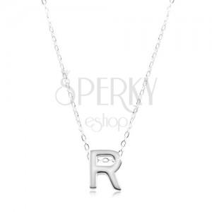 e65a2871d Strieborný náhrdelník 925, lesklá retiazka, veľké tlačené písmeno R ...