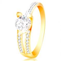 Prsteň zo 14K zlata - veľký číry zirkón af5d5f4115a